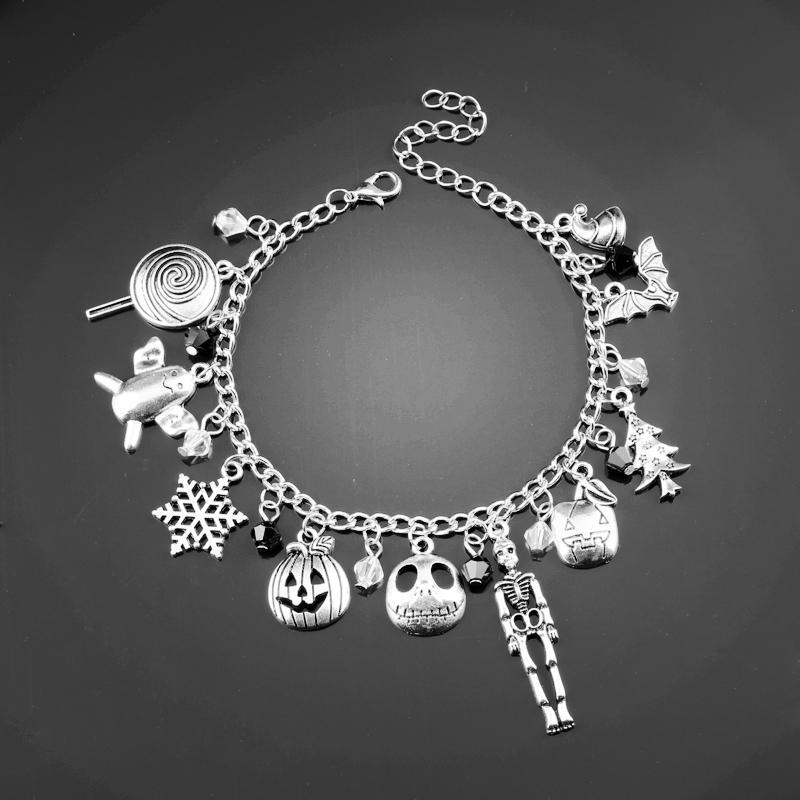 Collegamento, catena Dongsheng L'incubo prima del braccialetto di fascino di Natale Halloween Jack Jack Skelling Sally Fiocchi di neve Pumbel Skull -25