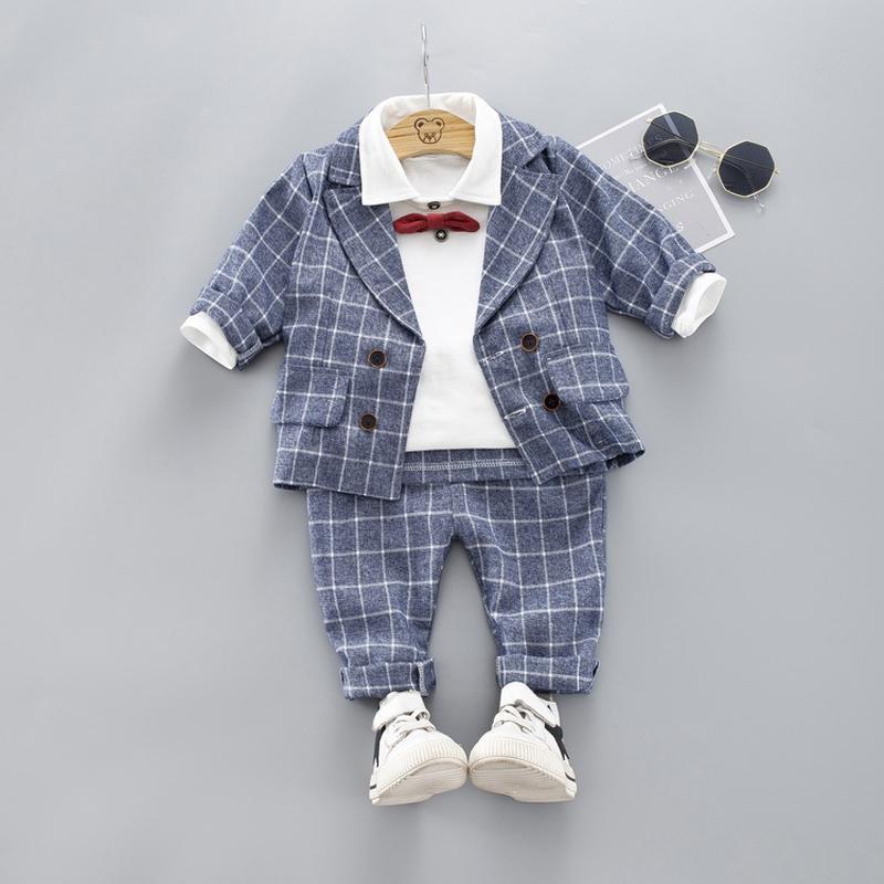 Baby Bekleidung Formal Anzüge Partei Kleidung Sets Herbst Kinder Baumwollmantel + T-Shirt + Pants Set Gentleman Wear 1-4 Jahre