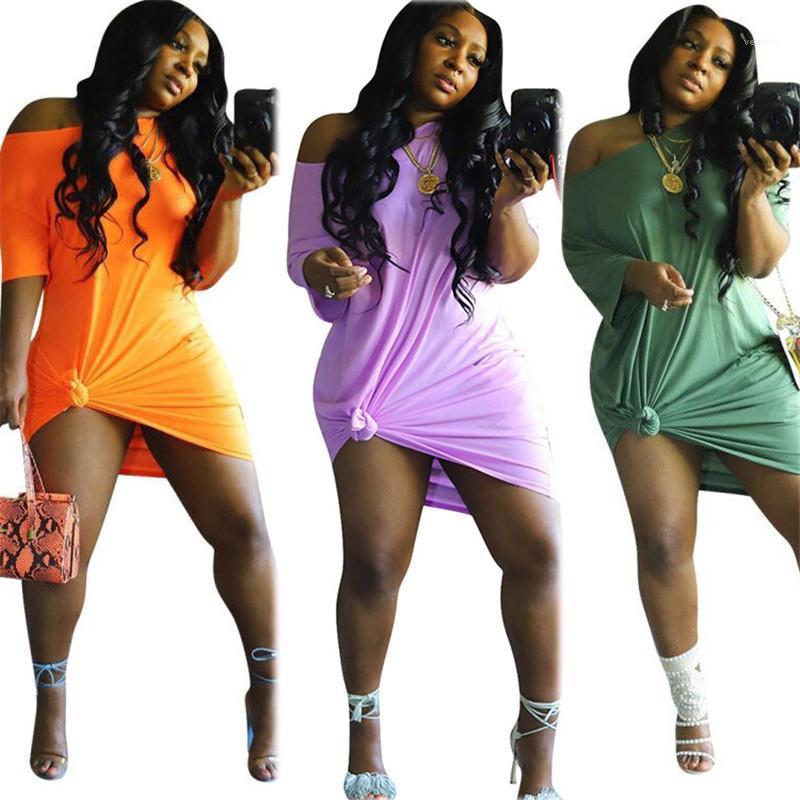 패션 짧은 소매 캐주얼 드레스 여성 의류 섹시한 오프 숄더 여자 드레스 자연 컬러 디자이너 느슨한 드레스