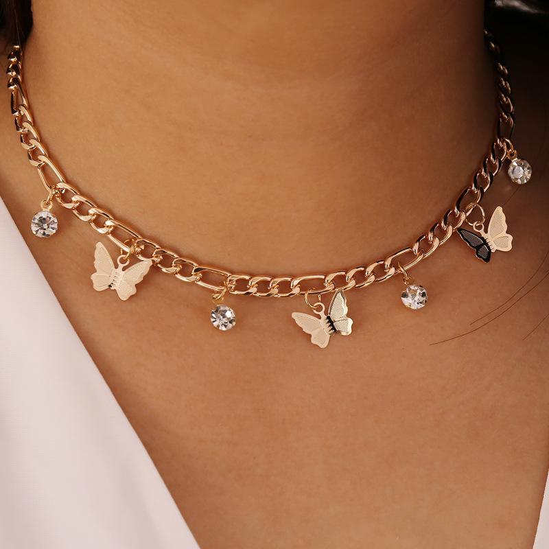 Chokers Boho Strass Schmetterling Charme Kristall Anhänger Mode Halskette Für Frauen Elegante Choker Schmuck Zubehör