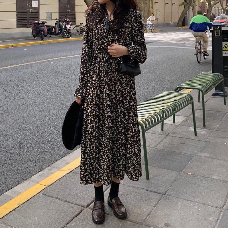 Bella Filosofia Maravilha 2020 Primavera Mulheres elegante Impresso Vestido Lady V Neck cintura alta vestido Feminino Vintange Ruffles Manga comprida JKh0 #