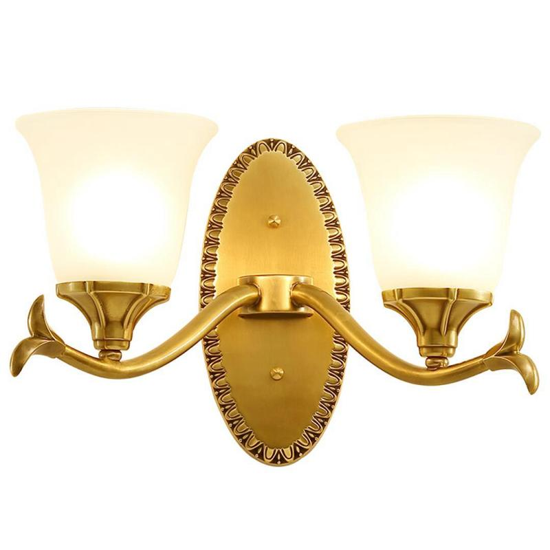 Wall Lamp Arrival Lights Copper Glass Shades Dimmable 6W Led Bulb Bedside Reading Home Decorate Designer Source