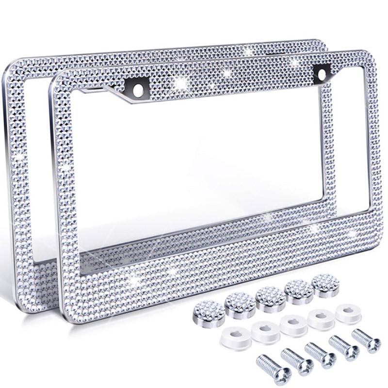 Frames da placa de licença YENTL 1 PC Bling Crystal Quadro Mulheres Luxo Artesanato Strass com botão de ignição Ajuste para o modelo U.S