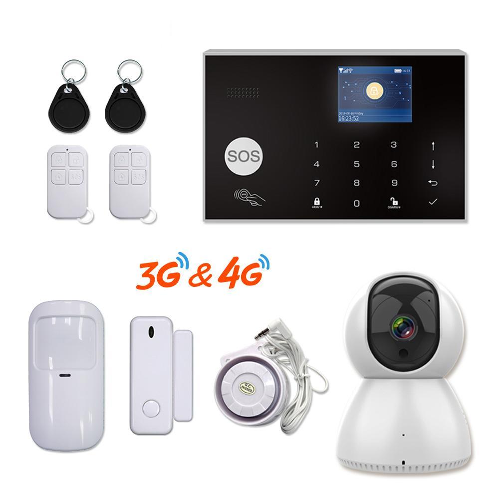 Tuya 433MHz WiFi 3G 4G Home BURGLAR SICUREZZA ALARM Sistema di allarme APP Telecomando Kit host wireless con telecamera IP Baby Monitor