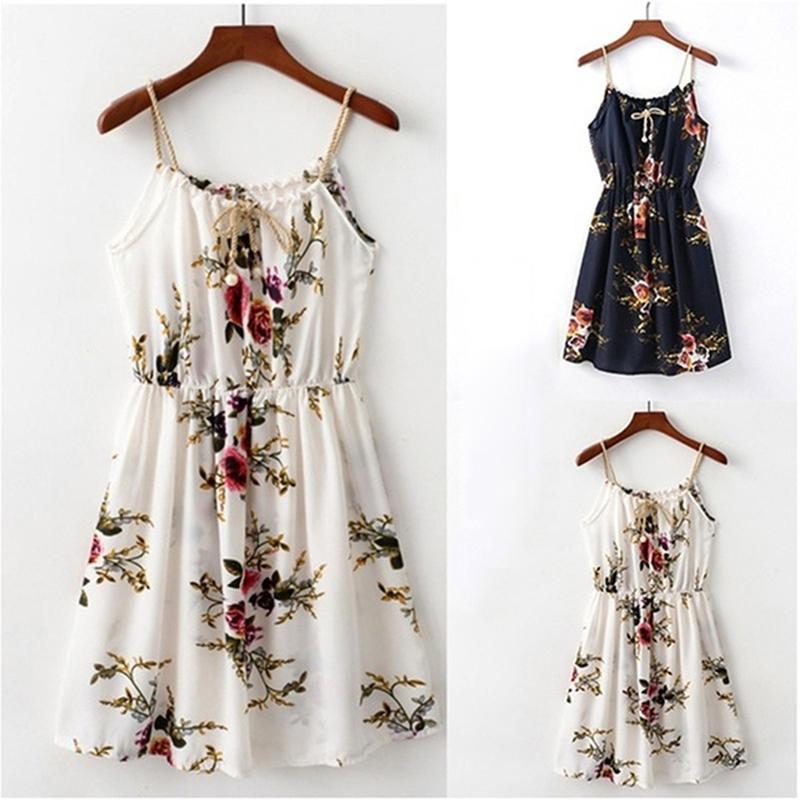 2020 Verão vestido de praia do vintage elegante Casule Floral Túnica Cami vestido Boho Casual Vestido de Verão Sem Costas Mini Bohemian