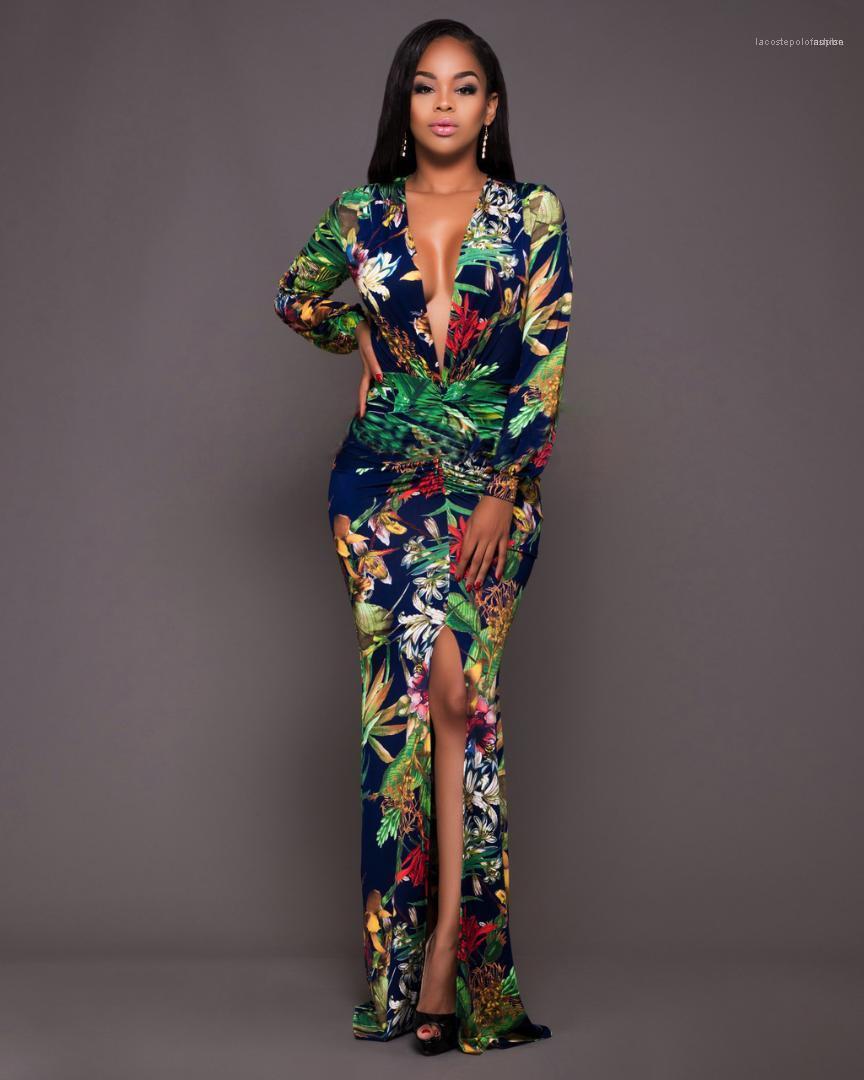 Neue Damen Maxi Kleid tiefer V-Ausschnitt Damen Kleider mit Rundhalsausschnitt Langarm-Kleid der Frauen Art und Weise beiläufiger