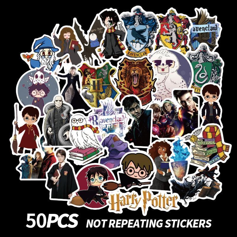Harry Potter palillo 50pcs Harry Potter ventiladores parches adhesivos scrapbooking etiquetas engomadas DIY accesorios de las decoraciones teléfono a prueba de agua de dibujos animados regalos