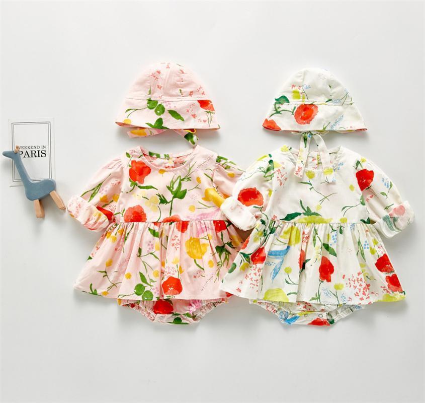 2020 otoño de los bebés del niño Mono Impreso sola pieza del juego lindo de la flor de la princesa de vestir Trajes frescos con el casquillo del bebé Ropa