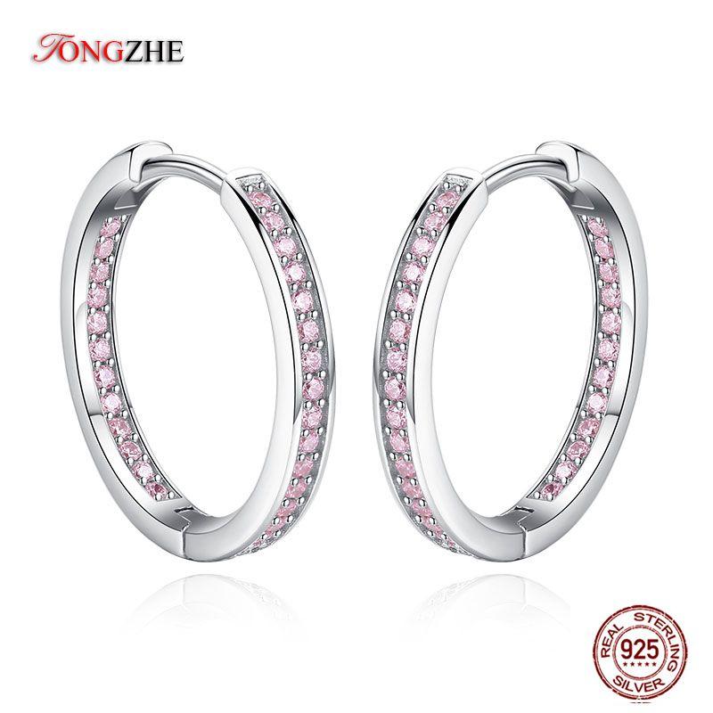 TONGZHE alta qualidade polido Hoop brincos para mulheres prata esterlina 925 pavimentada rosa austríaca CZ para o partido da jóia do casamento