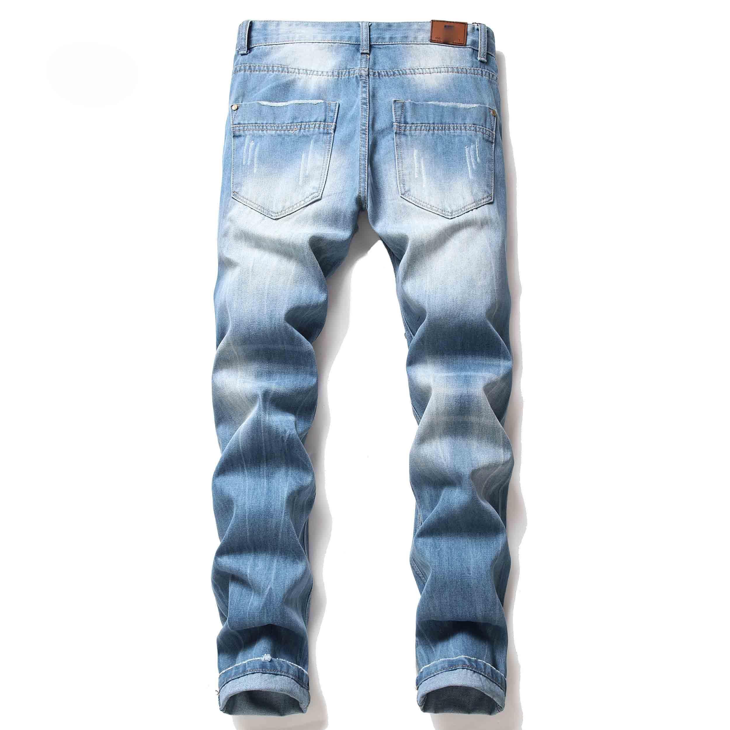 Yırtık Delik Bisiklet Motosiklet Rock Revival Pantolon Fermuar Kuaför Nakış Jeans Mavi Perişan Pantolon