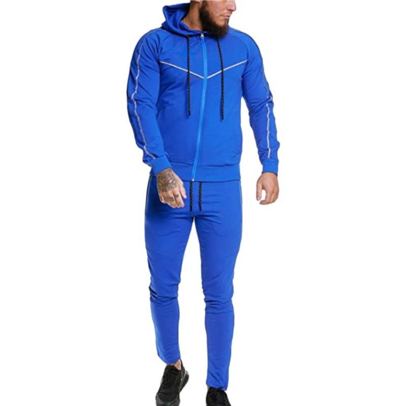 Hommes Rayé Patchwork Survêtements Col capuche Casual Sportswear avec poches et fermeture éclair Mode Automne Hiver Cadrage Apparel