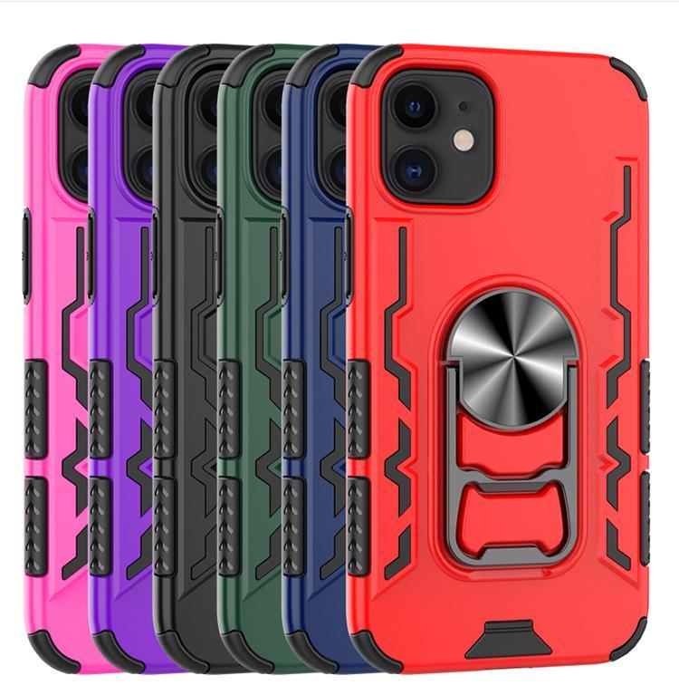 caso de telefone para iphone 12 iphone máximo 12 pro 11 x xr 7/8 com Kickstand 2 em 1 TPU + PC + anel caso do iPhone de metal