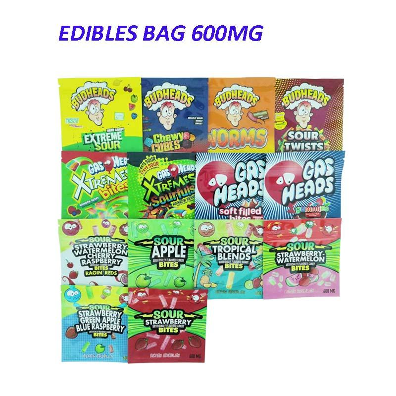 600 mg Edibles Candy Candy Caribo Gusher Sacs Gommeux Budheads Sour Edibles Emballage Cannaburst 420 MyLar Sac