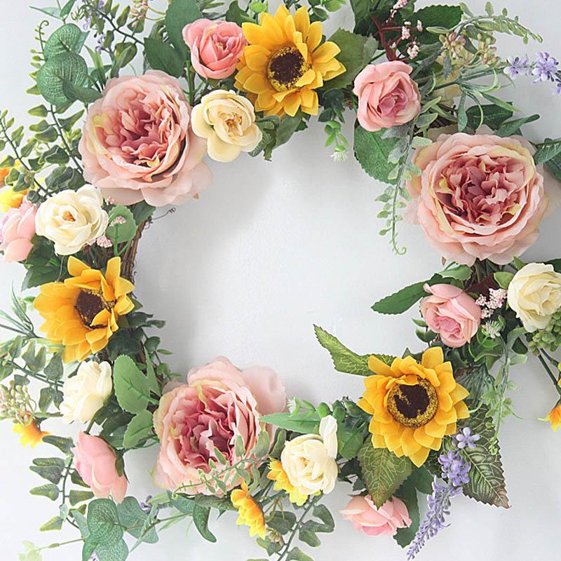 Fleurs décoratives couronnes 40cm artificielles brun pivoine fleur couronne guidon maison fenêtre fenêtre suspendue fausse guirlande mariage fête de noël décorat