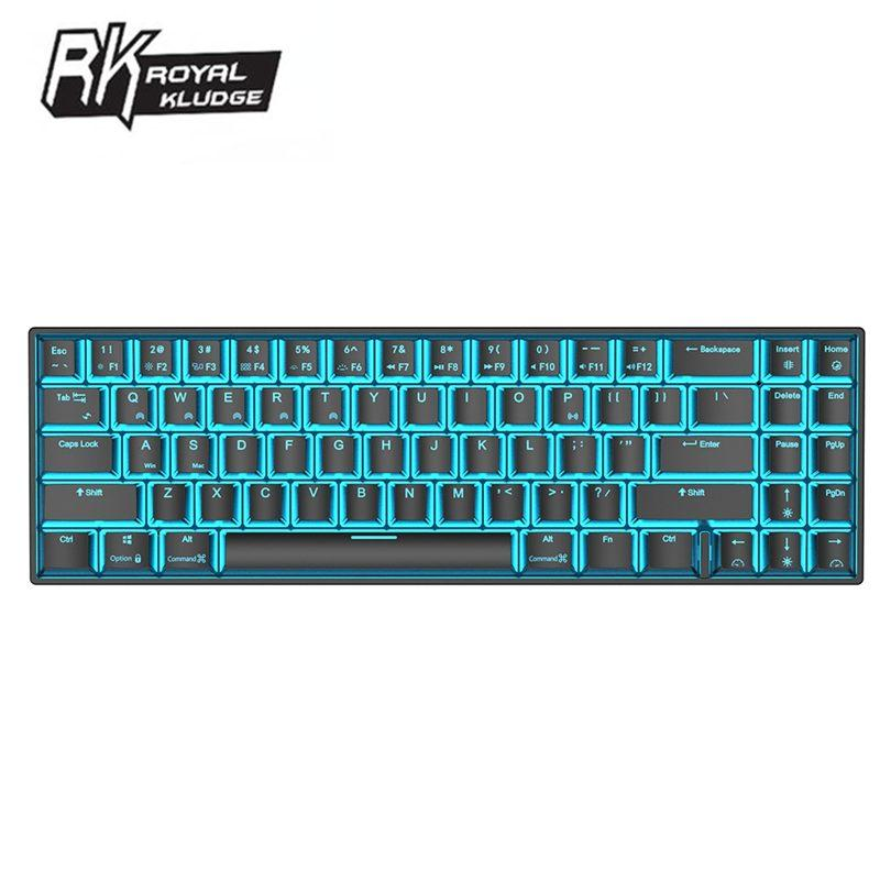 로얄 Kludge RK71 71 키 기계 게임 키보드 작은 블루투스 3.0 무선 USB 아이스 블루 LED 백라이트 블루 브라운 레드 스위치
