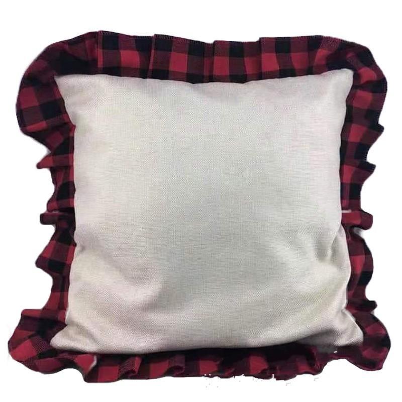 Cojín Buffalo telas escocesas de la funda de almohada Diseño de Navidad con Volantes geométrico cuadrado de lino cubierta del coche de la almohadilla de tiro cubierta apta del caso una decoración 12jz E1
