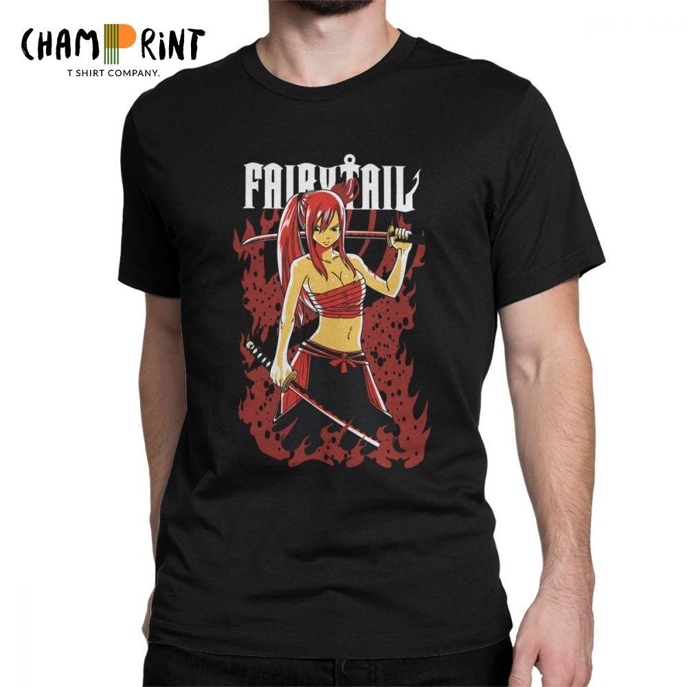 Erza fadas Scarlet cauda T Cotton novidade t-shirt camisa dos homens Crewneck camisetas de manga curta roupa 4XL 5XL