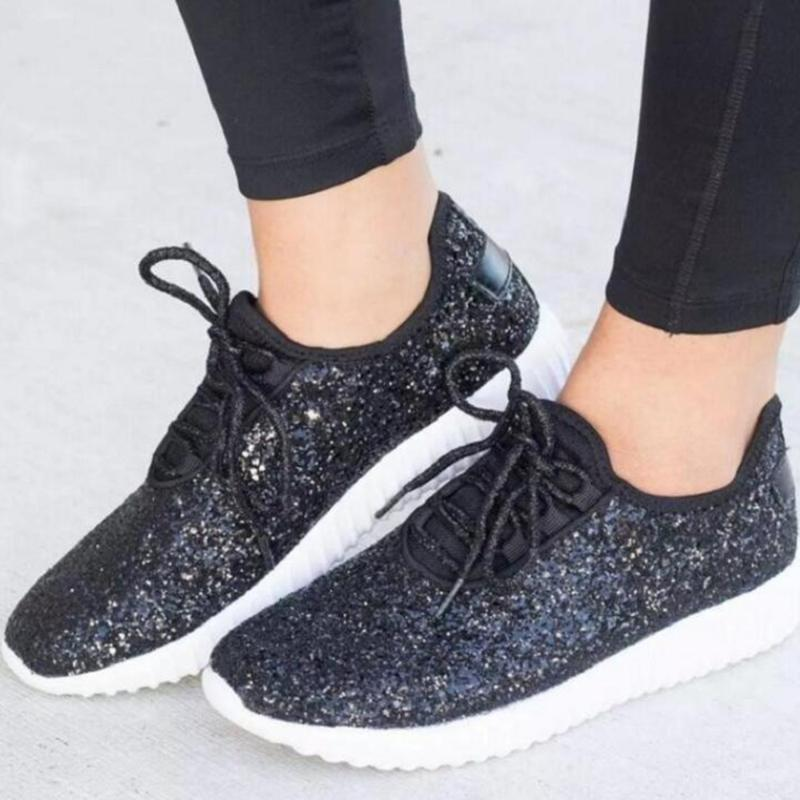 Women Casual Glitter Schuhe Flache Schuhe Damen Sequin vulkanisierte schnüren sich oben Turnschuhe im Freiensport-Rennen 2020 kl682