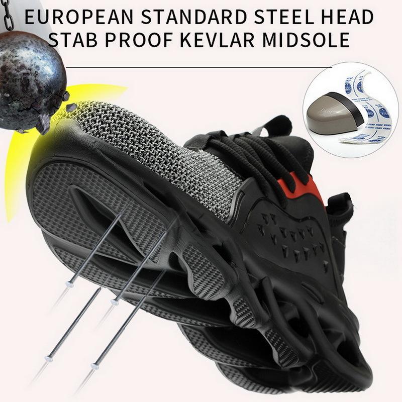 HOT Segurança Bota de Trabalho For Men Anti-Smashing Segurança de construção Shoes Aço Toe Cap Sapatos de trabalho Indestructible Sneakers Segurança 200916