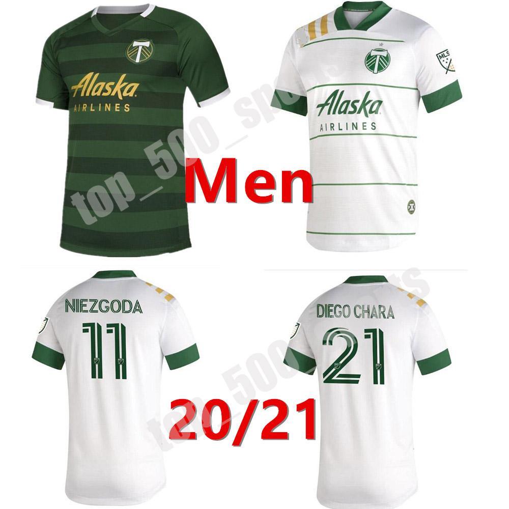 새로운 2020 2021 MLS 포틀랜드 목재 홈 축구 유니폼 20 21 Blanco Chara Valentin Valeri Men Football Jersey Shirts