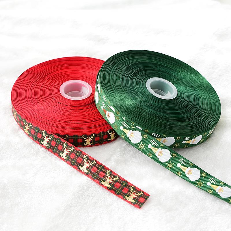 2м / рулон Упаковочная лента Рождество Красный Зеленый подарочной упаковки ленты украшения рождественской елки 2.5CM Ширина партии мешок подарка