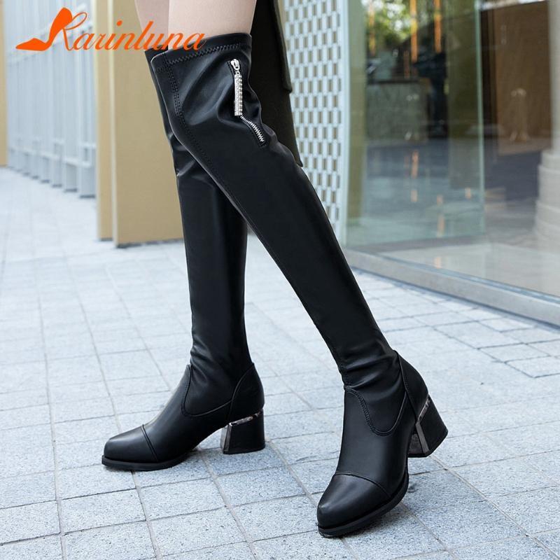 Karin 2020 scarpe moda Over-the-ginocchio femminile stivali casual punta rotonda spessi quadrati Tacchi Zipper donne di autunno