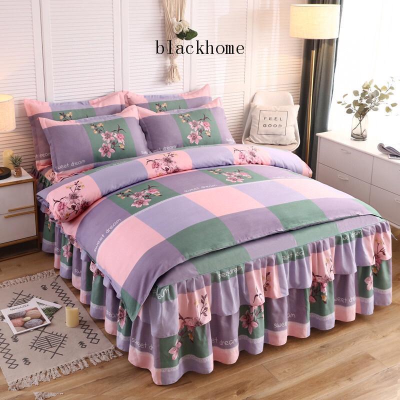 JH Rosa rejilla casera hoja de cama Traje retro ondulado borde decorar artículos de cama Niza Moda funda nórdica