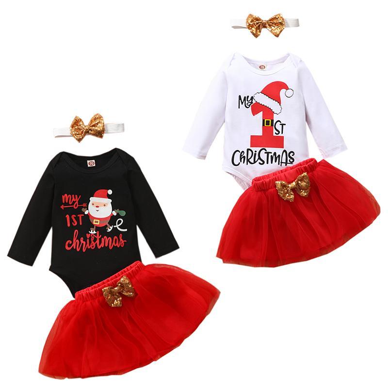 Natale scherza i vestiti delle ragazze abiti bambino Babbo Natale stampa Tops + paillettes fascia + Mesh gonna 2pcs / set Insiemi Autunno Natale Abbigliamento bambino