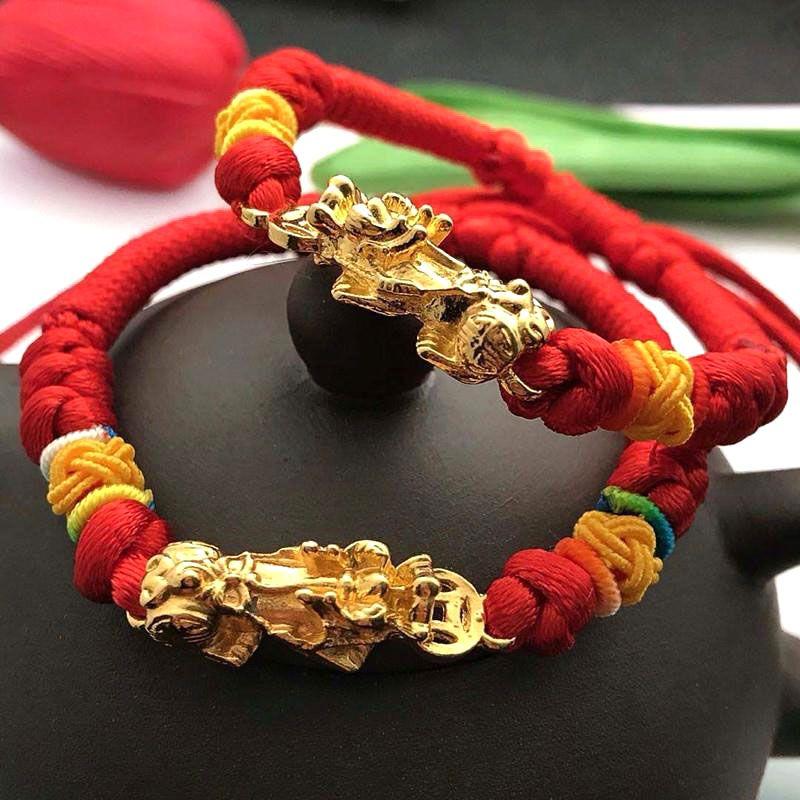 Lucky Red Rope Woven Bracelet Golden Brave Troops Amulet Bracelet Buddhist Jewelry LXH