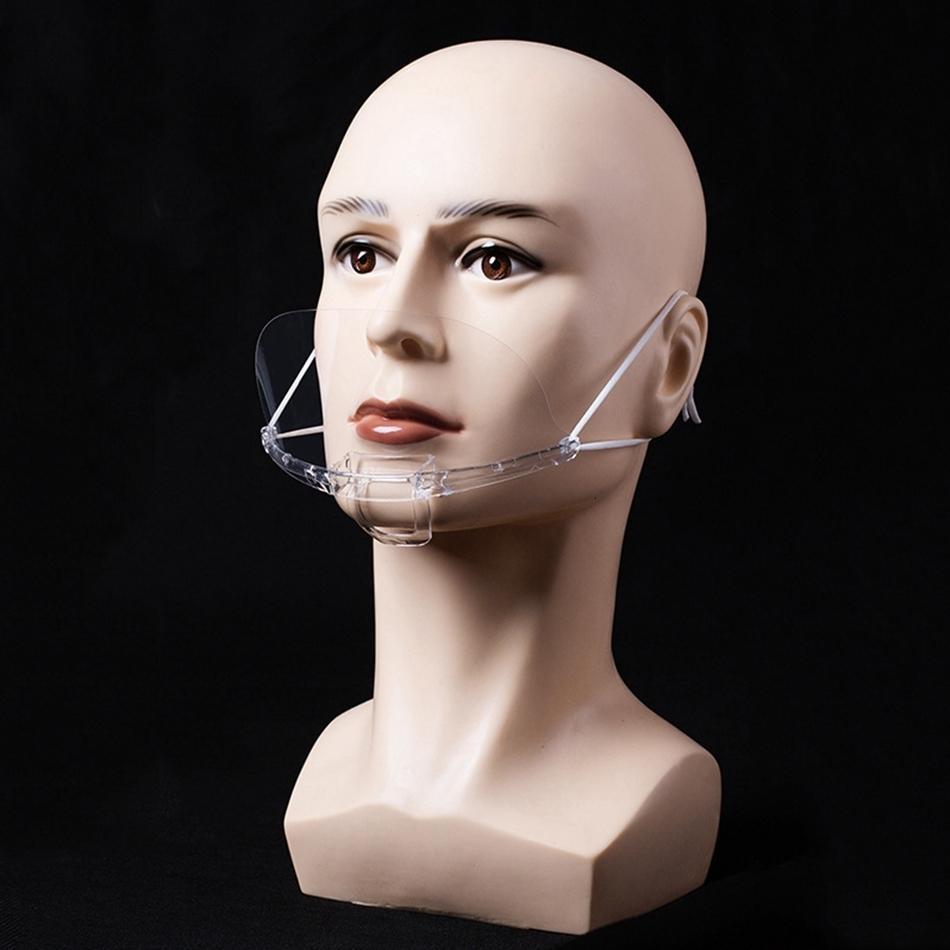 Permanente Transparente Máscara Sanitária Anti Catering cobrir a boca Nevoeiro respingo Food Hotel Kitchen Restaurant plástico transparente Máscaras Ljjp455