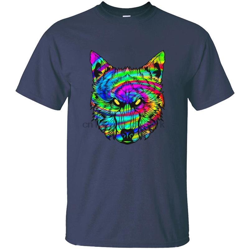 Lobos del lobo Impreso Psychodelic Trance Alucinaciones regalo camiseta para hombre del cuello de O Camiseta para hombre de manga corta camisetas frescas Top