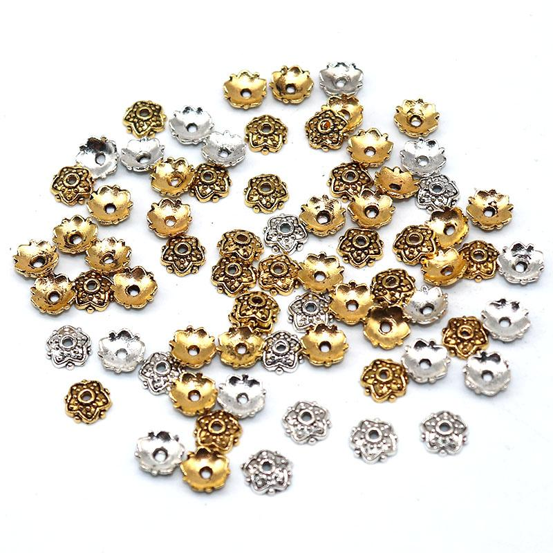 500pcs Silver gold Plated Beads End Caps Flower Bead Caps For Jewelry Making Findings Diy Accessories Wholesale 7mm