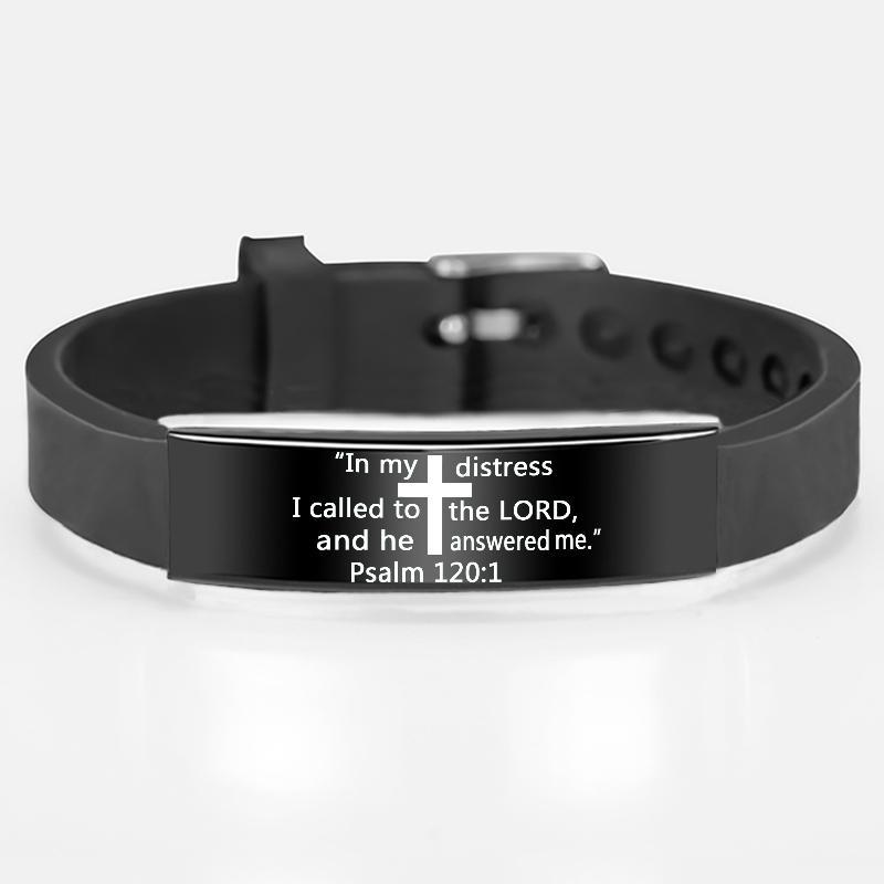 Mode Croix Noire Écriture Bracelet Citation bracelets en silicone en acier inoxydable pour les hommes Bible chrétienne Bijoux