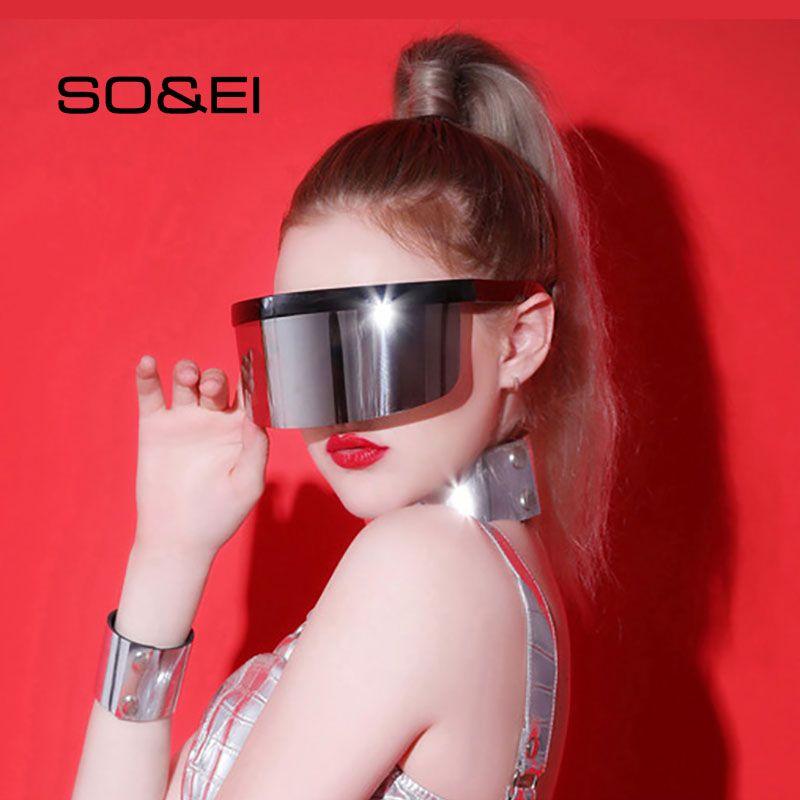 Soi one Anti-Peeping Fashion Sun Piece Uomo Occhiali da sole Occhiali da sole Oversized Sport Outdoor UV antivento Antiless Goggles Maschera Donna Occhiali da donna TMJUX