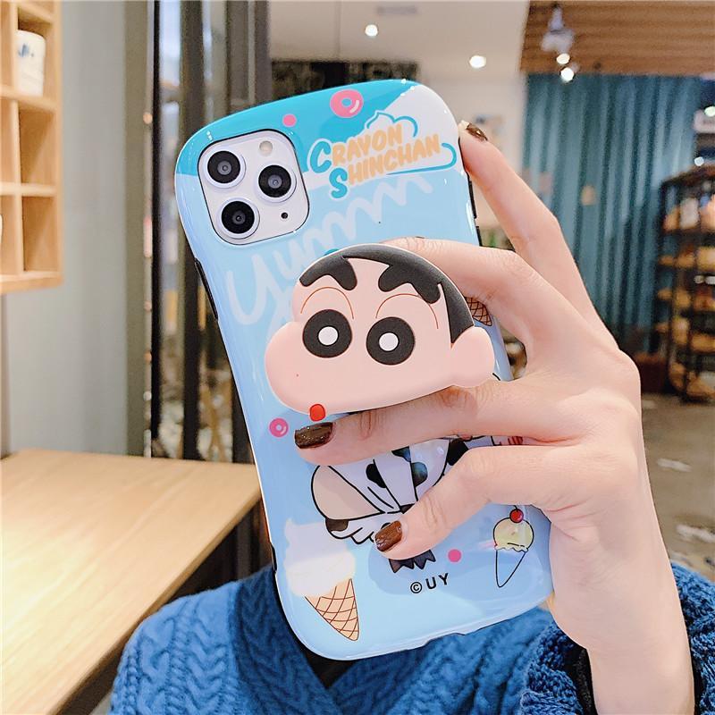 szbobo JAMULAR 3D Cartoon Shin-chan Téléphone Case pour iPhone 7 XR 11 Pro SE20 X XS MAX 8 6Plus Japon Grip Support vache Couverture souple Capa