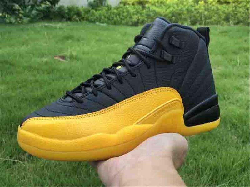 2020 Новый 12 Камень черный желтый Темный Concord Обратный Flu Game OVO Баскетбол обувь 12s Плей французские черные желтые ботинки