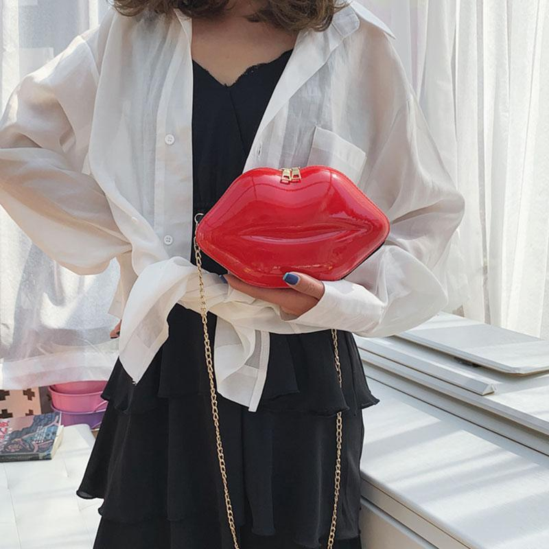 Mit verkaufen Kettenlippe Umhängetasche Handtasche Einzelmini-rote heiße goldene Crossbody-Strap für Frauen -B5 HTFAE