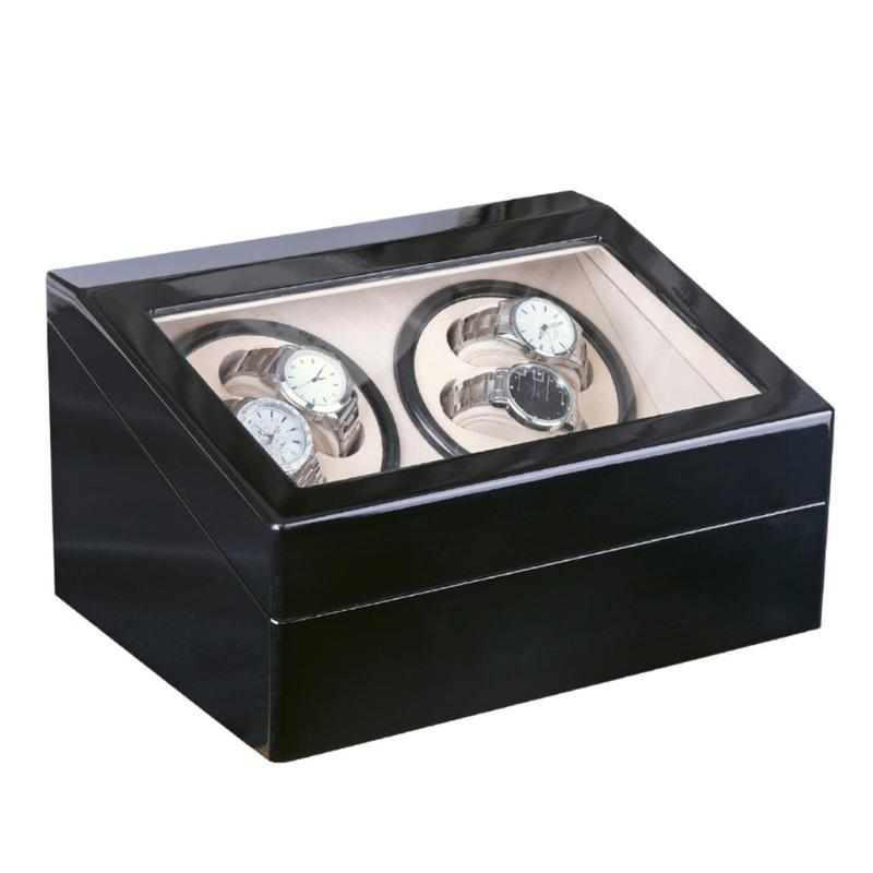 Роскошный 4 + 6 автоматические механические часы Black Box High Class Motor шейкер Часы Winder ювелирные изделия держатель дисплея US / EU / AU / Великобритания Plug