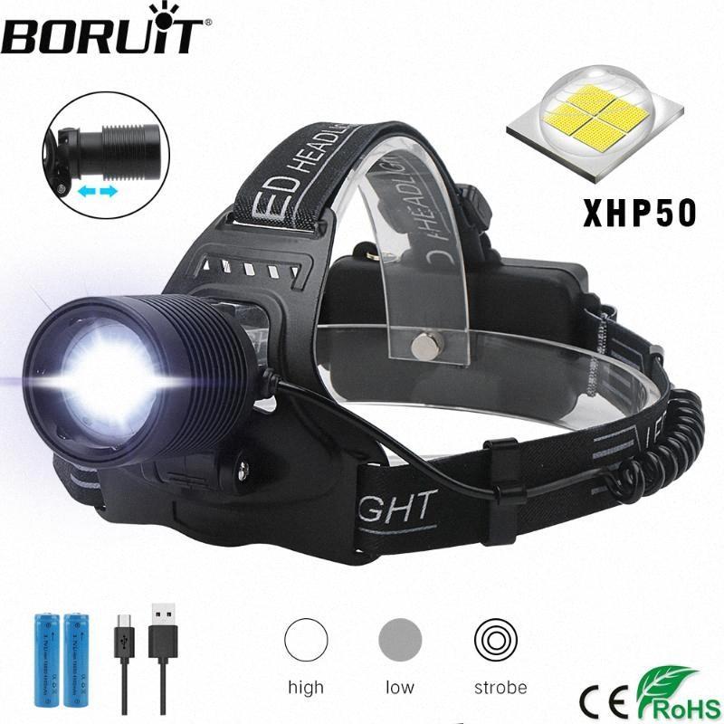 BORUiT H02 XPH50 LED Far Zoomable 3 Modu Far USB Şarj Başkanı Meşalesi Avcılık 18650 Pil DlHG #