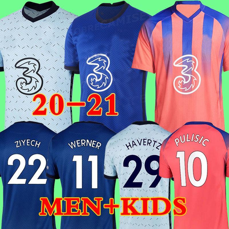 태국 베르너 PULISIC KANTE 아브라함 MOUNT ZIYECH 축구 유니폼 2020 2021 Camiseta 드 축구 키트 셔츠 19 개 20 21 개 MEN KIDS 세트 2019