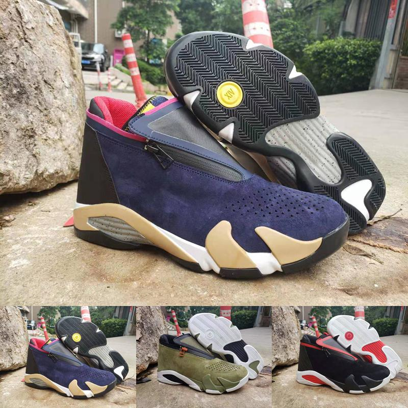 2019 Mens 14 Zipper Basketball Shoes Designer Sneakers Suede Mesh oliva Last Shot Nero Rosso Jumpman 14s Xiv Des Hommes Chaussures Formatori