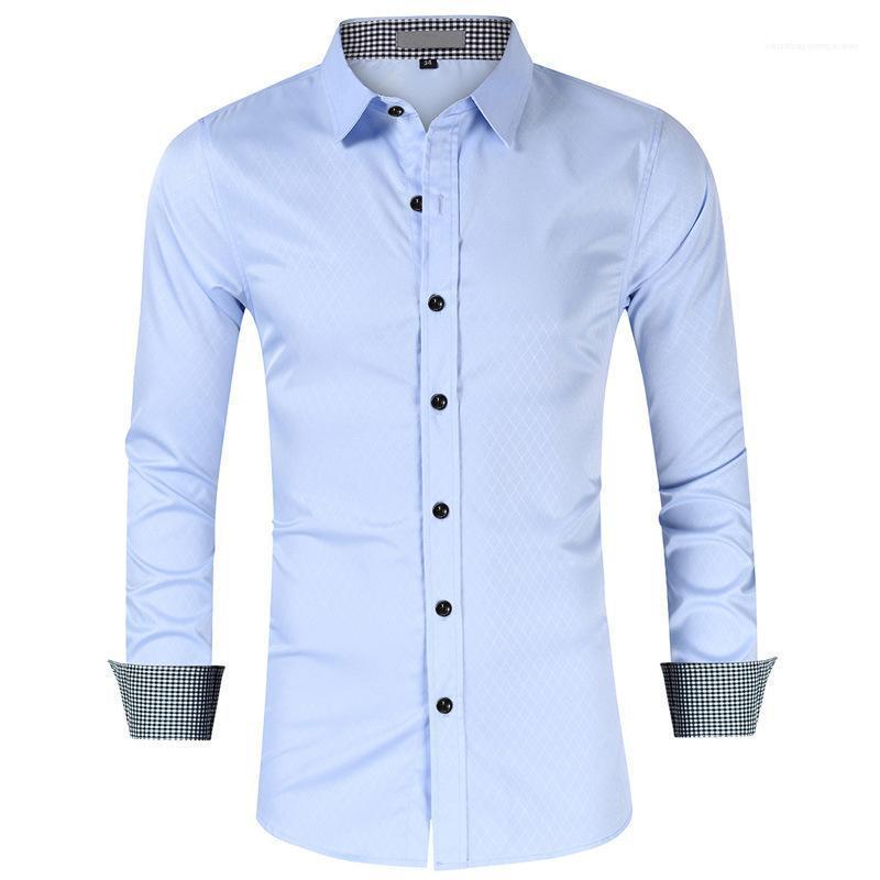 Camicie Uomo Primavera risvolto collo manica lunga camicia di affari di modo degli uomini solidi Abbigliamento Uomo Plaid Dress Patchwork