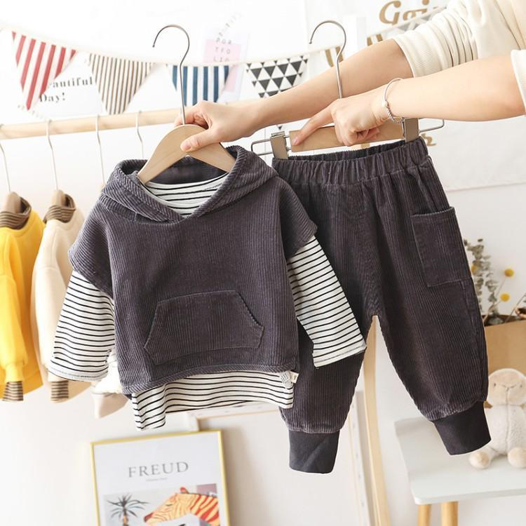 Ragazzi velluto a coste Outfits della moda di New bambini banda manica lunga T-shirt + incappucciato Outwear + pantaloni casual 3Pcs dei capretti sets Casual A4435