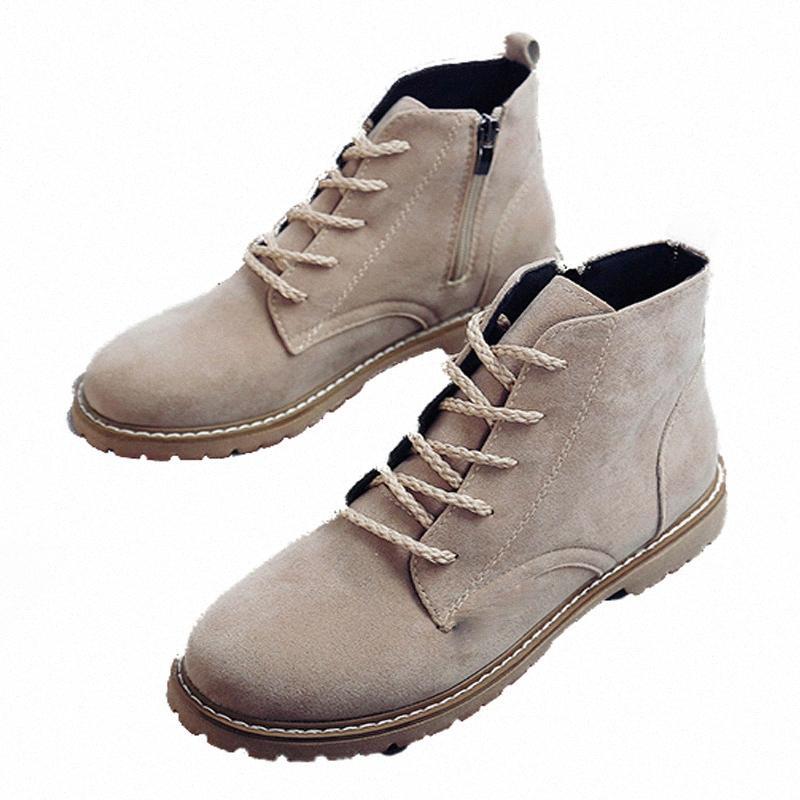 zíper lateral mulheres botas de moda ata acima baixos saltos sapatas das senhoras rodada botas toe motorcrycle botines mujer para as mulheres M4kY #
