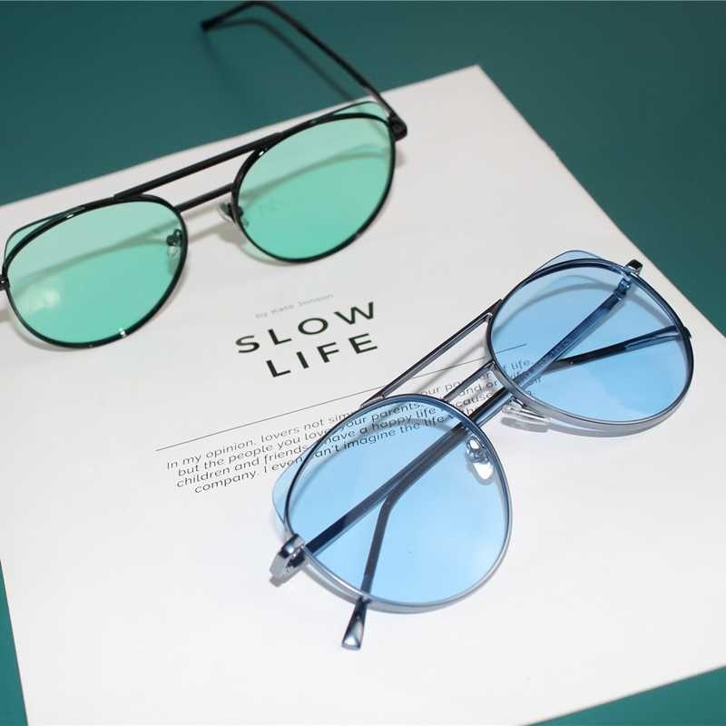 Color metal frame sunglasses men's texture radiation protection vacation travel sunglasses óculos de sol