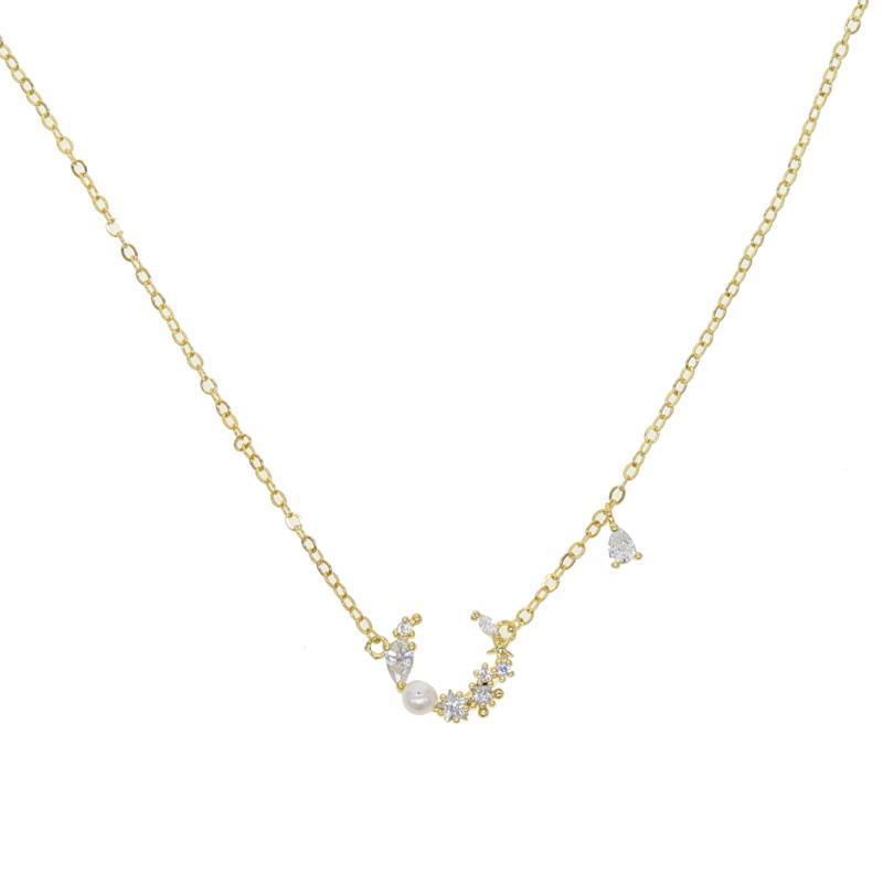 fascino nuovo disegno cz lastricata luna girocollo breve collana nelle donne di colore oro collana per festa di nozze dono eleganza gioielli bello