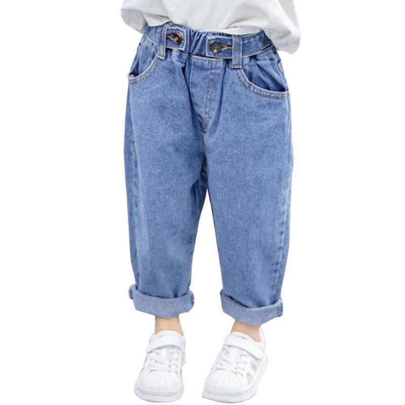 Jeans bebê menina sólida padrão casual crianças meninas a apring outono criança criança roupas