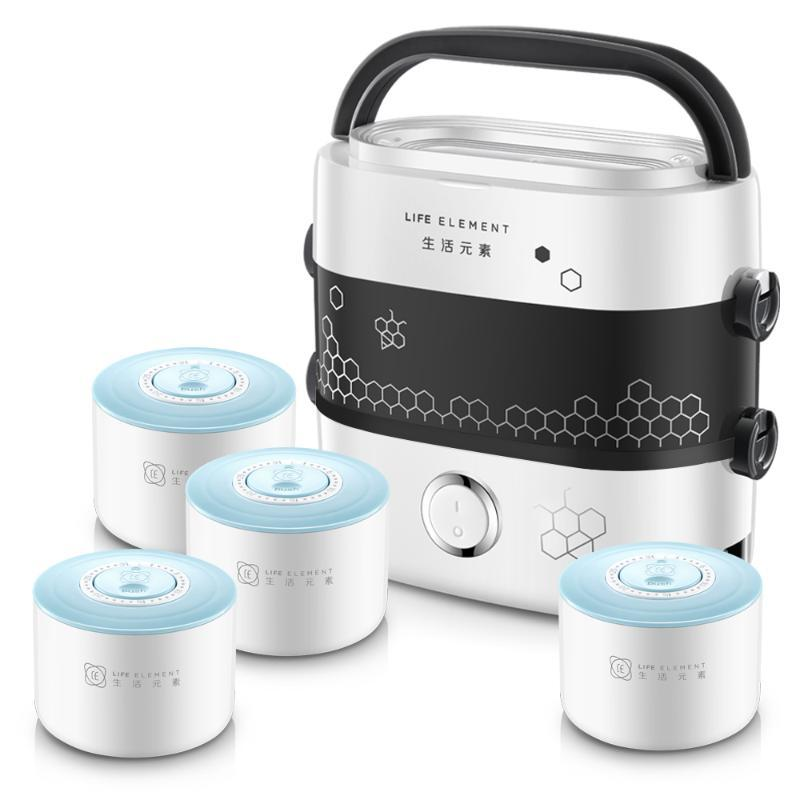 Electric Lunch Box Lunch Box Hot Rice Cooker Double Layer Pluggable Heating Cooking Insulation Ceramics Fully Automatic 4 Liner