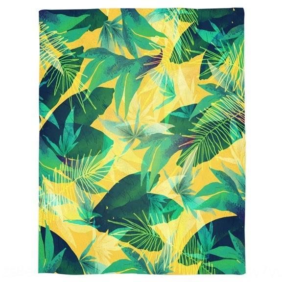 gG83n classica foglia di palma verde foresta tiro ultra-fine letto fibra di flanella Coperta