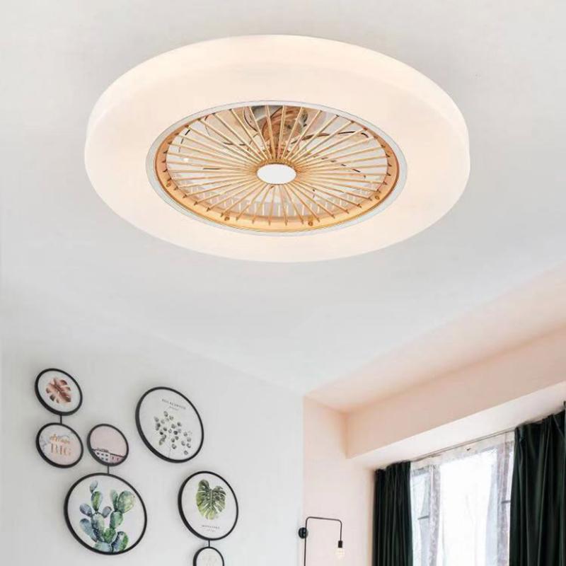 Ventilateurs électriques Modern minimaliste LED lumineux lumineux télécommande ventilateur ventilateur couleur couleur décoration de la chambre 58cm bleue en métal acrylique bleu rose